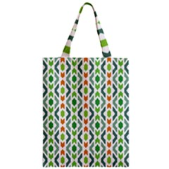 Chevron Wave Green Orange Zipper Classic Tote Bag