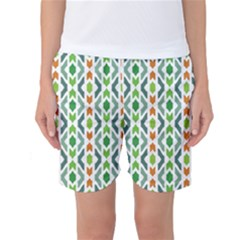Chevron Wave Green Orange Women s Basketball Shorts