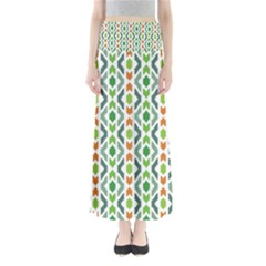 Chevron Wave Green Orange Maxi Skirts