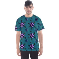 Blue Purple Floral Flower Sunflower Frame Men s Sport Mesh Tee