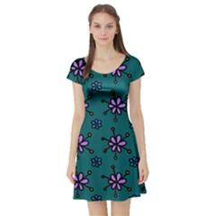 Blue Purple Floral Flower Sunflower Frame Short Sleeve Skater Dress