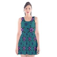 Blue Purple Floral Flower Sunflower Frame Scoop Neck Skater Dress