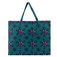Blue Purple Floral Flower Sunflower Frame Zipper Large Tote Bag