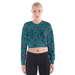 Blue Purple Floral Flower Sunflower Frame Women s Cropped Sweatshirt