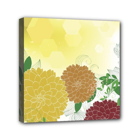 Abstract Flowers Sunflower Gold Red Brown Green Floral Leaf Frame Mini Canvas 6  x 6