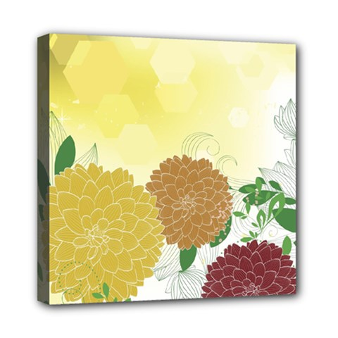 Abstract Flowers Sunflower Gold Red Brown Green Floral Leaf Frame Mini Canvas 8  x 8