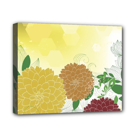 Abstract Flowers Sunflower Gold Red Brown Green Floral Leaf Frame Canvas 10  X 8