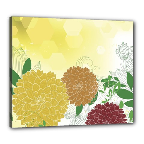 Abstract Flowers Sunflower Gold Red Brown Green Floral Leaf Frame Canvas 24  x 20