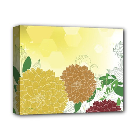 Abstract Flowers Sunflower Gold Red Brown Green Floral Leaf Frame Deluxe Canvas 14  x 11