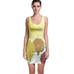 Abstract Flowers Sunflower Gold Red Brown Green Floral Leaf Frame Sleeveless Bodycon Dress