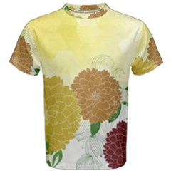 Abstract Flowers Sunflower Gold Red Brown Green Floral Leaf Frame Men s Cotton Tee