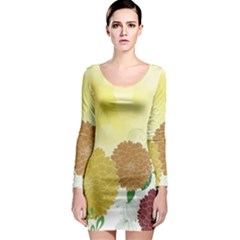 Abstract Flowers Sunflower Gold Red Brown Green Floral Leaf Frame Long Sleeve Bodycon Dress