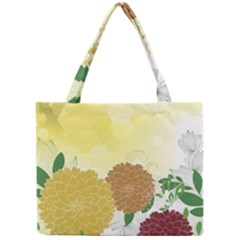 Abstract Flowers Sunflower Gold Red Brown Green Floral Leaf Frame Mini Tote Bag