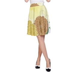 Abstract Flowers Sunflower Gold Red Brown Green Floral Leaf Frame A-Line Skirt