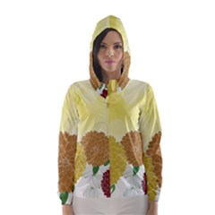 Abstract Flowers Sunflower Gold Red Brown Green Floral Leaf Frame Hooded Wind Breaker (Women)