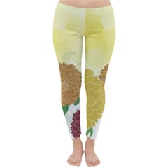 Abstract Flowers Sunflower Gold Red Brown Green Floral Leaf Frame Classic Winter Leggings