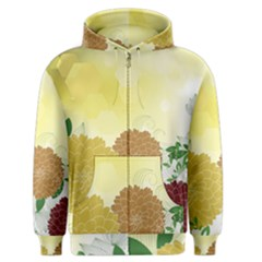 Abstract Flowers Sunflower Gold Red Brown Green Floral Leaf Frame Men s Zipper Hoodie