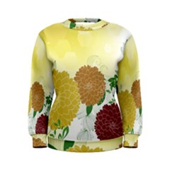 Abstract Flowers Sunflower Gold Red Brown Green Floral Leaf Frame Women s Sweatshirt