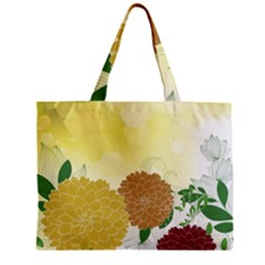 Abstract Flowers Sunflower Gold Red Brown Green Floral Leaf Frame Zipper Mini Tote Bag