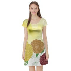 Abstract Flowers Sunflower Gold Red Brown Green Floral Leaf Frame Short Sleeve Skater Dress