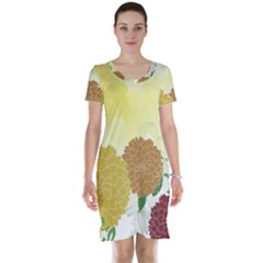 Abstract Flowers Sunflower Gold Red Brown Green Floral Leaf Frame Short Sleeve Nightdress
