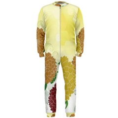 Abstract Flowers Sunflower Gold Red Brown Green Floral Leaf Frame OnePiece Jumpsuit (Men)