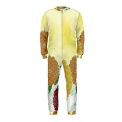 Abstract Flowers Sunflower Gold Red Brown Green Floral Leaf Frame OnePiece Jumpsuit (Kids)