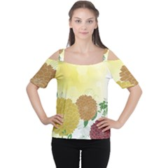 Abstract Flowers Sunflower Gold Red Brown Green Floral Leaf Frame Women s Cutout Shoulder Tee