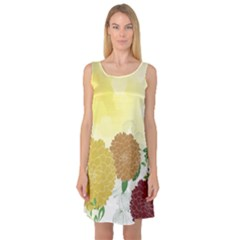 Abstract Flowers Sunflower Gold Red Brown Green Floral Leaf Frame Sleeveless Satin Nightdress
