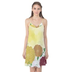 Abstract Flowers Sunflower Gold Red Brown Green Floral Leaf Frame Camis Nightgown