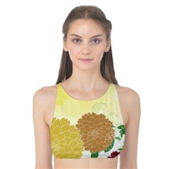 Abstract Flowers Sunflower Gold Red Brown Green Floral Leaf Frame Tank Bikini Top