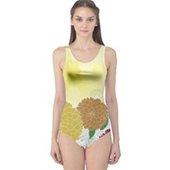 Abstract Flowers Sunflower Gold Red Brown Green Floral Leaf Frame One Piece Swimsuit