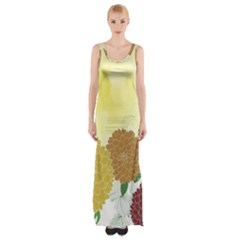 Abstract Flowers Sunflower Gold Red Brown Green Floral Leaf Frame Maxi Thigh Split Dress