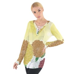 Abstract Flowers Sunflower Gold Red Brown Green Floral Leaf Frame Women s Tie Up Tee