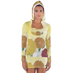 Abstract Flowers Sunflower Gold Red Brown Green Floral Leaf Frame Women s Long Sleeve Hooded T-shirt