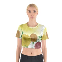 Abstract Flowers Sunflower Gold Red Brown Green Floral Leaf Frame Cotton Crop Top
