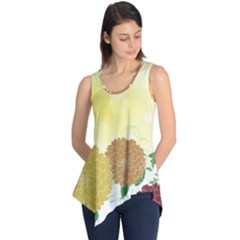 Abstract Flowers Sunflower Gold Red Brown Green Floral Leaf Frame Sleeveless Tunic
