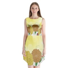Abstract Flowers Sunflower Gold Red Brown Green Floral Leaf Frame Sleeveless Chiffon Dress