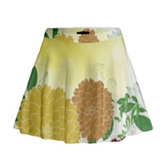 Abstract Flowers Sunflower Gold Red Brown Green Floral Leaf Frame Mini Flare Skirt