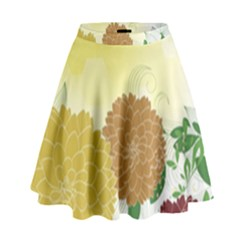 Abstract Flowers Sunflower Gold Red Brown Green Floral Leaf Frame High Waist Skirt
