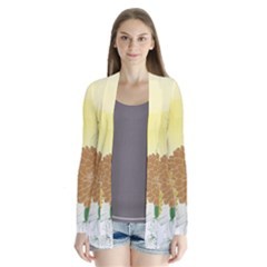 Abstract Flowers Sunflower Gold Red Brown Green Floral Leaf Frame Cardigans