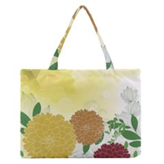 Abstract Flowers Sunflower Gold Red Brown Green Floral Leaf Frame Medium Zipper Tote Bag