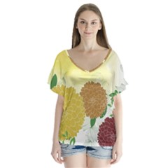 Abstract Flowers Sunflower Gold Red Brown Green Floral Leaf Frame Flutter Sleeve Top