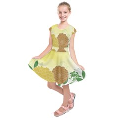 Abstract Flowers Sunflower Gold Red Brown Green Floral Leaf Frame Kids  Short Sleeve Dress
