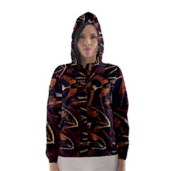 Feathers Bird Black Hooded Wind Breaker (Women)