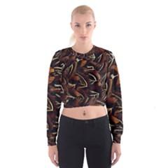 Feathers Bird Black Women s Cropped Sweatshirt