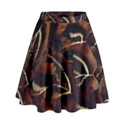 Feathers Bird Black High Waist Skirt