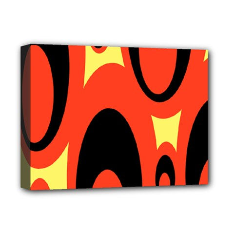 Circle Eye Black Red Yellow Deluxe Canvas 16  X 12