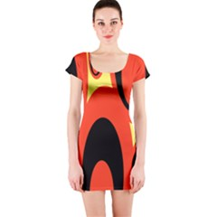 Circle Eye Black Red Yellow Short Sleeve Bodycon Dress