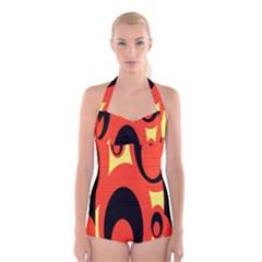 Circle Eye Black Red Yellow Boyleg Halter Swimsuit